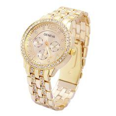 Heißer Verkauf Luxus Genf Marke Kristall damen herren fashion kleid quarz-armbanduhr Relogios Feminino ge001