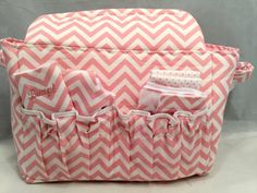 Doll size Diaper Bag in Pink and White Chevrons with by GSRdolls