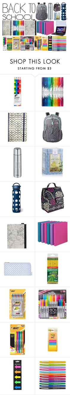 """""""School Supplies"""" by shadow13goddess101 ❤ liked on Polyvore featuring interior, interiors, interior design, home, home decor, interior decorating, Yoobi, The North Face, Trudeau and Lifefactory"""