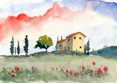 A beautiful spring morning in the bright Tuscan landscape. Thin cypress trees stand near the old farmhouse surrounded by colorful wildflowers and poppies. Beyond, a low mountain is obscured by mist. Original watercolor completed August 2011. Printed on archive quality matte photo paper.