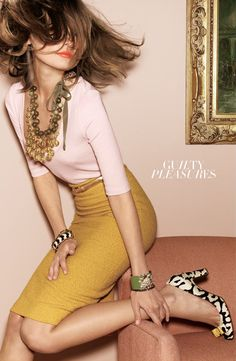 mustard and pink from J Crew - love the entire look especially with the pattern pop on the shoes.
