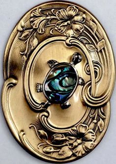 "LARGE 2 3/4"" Inch Stamped Brass Button~""CUTE ABALONE TURTLE"" Picture Button"