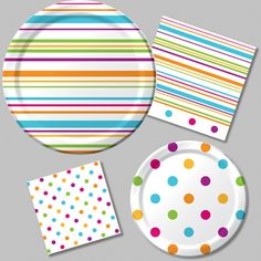 "Extraordinary Happy Dots Party Supplies to Mix and MatchOur lively Happy Dots decorations feature playful dots(magenta, school bus yellow, bermuda blue 7""plates and plastic cutlery)"