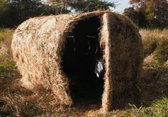 Speaking of DIY hay bale blinds... it would not be hard to build one of these that just barely fit in the bed of my truck... the hard part would be storing it in the off season :)