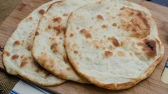 This wasn't difficult to make at all :) gotta be pretty vigilant when cooking because they burn easily, taste good! - Victoria --------- Oh my, The best Naan Bread Think Food, I Love Food, Good Food, Yummy Food, Pizza, Homemade Naan Bread, Homemade Food, Fried Fish Recipes, Bread Baking