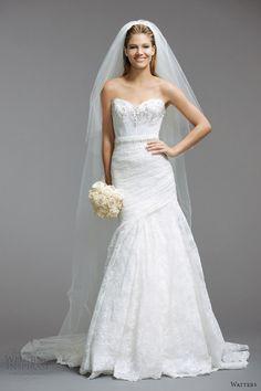 watters nupcial primavera 2014 del estilo del vestido de novia sin tirantes 5084B
