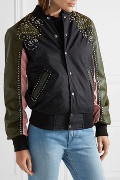 Black and baby-pink shell, army-green leather Snap fastenings through front 100% nylon; trim: 100% leather (Cow); lining: 100% polyester Dry clean