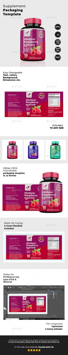 Raspberry Health Supplement Packaging Template - #Packaging Print Templates