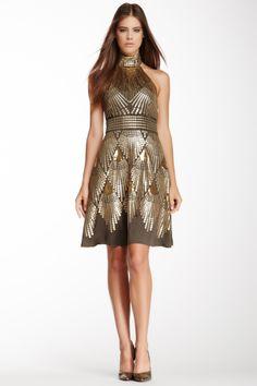 Sequin Halter Neck Silk Dress on HauteLook