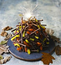 Fireworks feast! Chocolate and orange bonfire cake