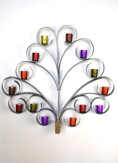 Wine Barrel Ring Tree Top Wall Art w/candle holders - made from Napa Wine Barrel Rings -100% recycled