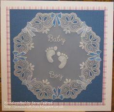 Baby baby plate and lace corner border Groovi card created by Jane Telford Parchment Design, Paper Art, Paper Crafts, Birthday Charts, Parchment Cards, Card Maker, Handmade Baby, Baby Cards, Hobbies And Crafts