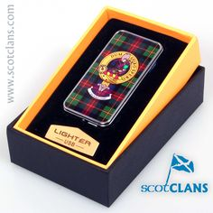 MacLellan Clan Crest USB Rechargeable Lighter. Free Worldwide Shipping Available