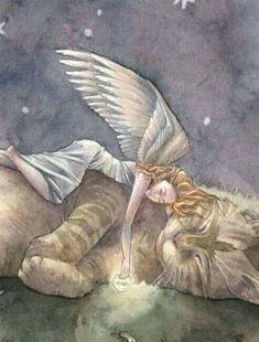 Sleeping Angel with Tabby Cat Art Print Moon Crazy Cat Lady, Crazy Cats, I Love Cats, Cute Cats, Gato Angel, Cat Art Print, All About Cats, Angel Art, Rainbow Bridge