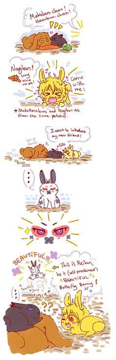 The butterfly bunny ...  Drawn by racyue ... Free! - Iwatobi Swim Club, free!, iwatobi, makobun, bunny, rabbit, harubun, haruka nanase, haru nanase, haru, nanase, haruka, makoto, tachibana, makoto tachibana, reibun, nagibun, nagisa, hazuki, nagisa hazuki, rei ryugazaki, rei, ryugazaki