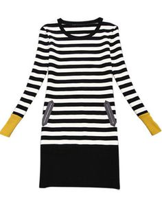 Black Long Sleeve Striped Knit Bodycon Dress