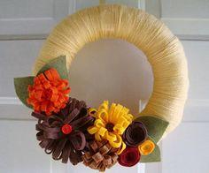 Yarn Wreath Fancy Fall Colors 12 inch by AnnaHailey on Etsy, $45.00
