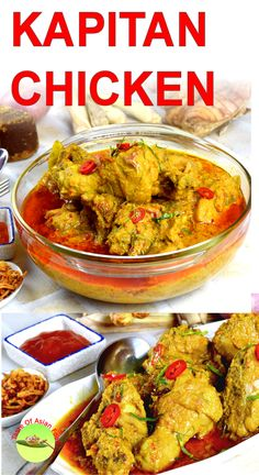 Kapitan chicken (Captain's curry) is an authentic Malaysian Nyonya chicken recipe. It is less spicy than most of the curies. The chicken is cooked with a plethora of Malay and Chinese herbs and spices. Get this original Kapitan chicken recipe, video demonstration and cook's note at: http://tasteasianfood.com/kapitan-chicken/