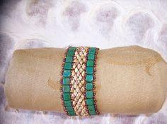 Hand Beaded Beadwoven Bracelet Cuff Tila Beads  ON by GirlsDream, $40.00