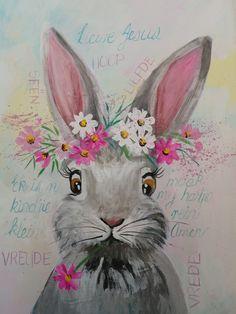 mixed media by Wilma Potgieter Bunny Painting, Spring Painting, Wood Painting Art, Easter Paintings, Animal Paintings, Watercolor Animals, Watercolor Paintings, Rabbit Art, Bunny Art