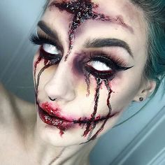 """#halloween #makeup @maccosmetics """"black black"""" chromacake, """"nightmoth"""" lip pencil, """"liquid last"""" liquid liner, """"lip conditioner"""" & """"chrome yellow"""" shadow. @sugarpill """"buttercupcake"""" & """"poison plum"""" @makeupgeekcosmetics """"bitten"""" Latex and scab blood is from the joke shop! Eyes are edited because I ain't got no contacts girl. Inspired by @isabellekategm @aislingkellyma..."""