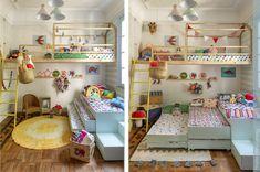 Um quarto para quatro crianças pode ser muito alegre, divertido e compacto. Essa ideia é incrível para decorar o quarto de quádruplos. Mesmo que o quarto seja pequeno. Inserido uma cama tripla e uma cama suspensa com casinha, o ambiente fica lindo e bem descontraído