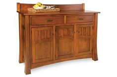 Amish Arlington Buffet The Arlington adds storage and stunning solid wood character in dining room, kitchen or hallway. Available in three sizes and option to add mirror. #buffet #buffettable