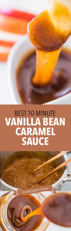 Easy homemade caramel sauce that's loaded with vanilla beans. Takes about 10 minutes to make. #caramel #dessertsauce #desserts
