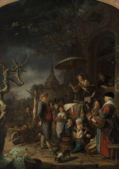 Gerard Dou, De kwakzalver, 1652 | Museum Boijmans Van Beuningen. Op dit grote paneel situeert fijnschilder Dou het optreden van een kwakzalver tijdens een jaarmarkt voor de stadspoort van Leiden. Op de tafel zit een aapje, dat wil zeggen: het publiek staat voor aap. Oftewel de boodschap van het schilderij luidt: laat je niet beetnemen. De schilder zelf leunt uit het raam achter de kwakzalver.