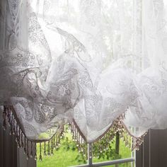 Share this page with others and get 10% off! White Chic Crystal Fringe Bead Balloon Baroque Balloon Flocked Sheer Curtain with Attached Valance