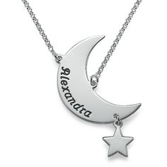 Engraved Moon Necklace | MyNameNecklace