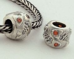 2d0bf6763 1pc 925 Sterling Silver Charms Fishe Red Crystal Beads Compatible with Pandora  Chamilia Kay Troll European