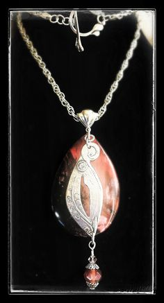 Fine silver pendant (99.9) with embedded CZ. Sterling silver (92.5) chain and accents, semi-precious gems and/or Czech crystals - hand made by Cilette Swann of Espiritu Fine Art. Email: cece at gypsysoul dot com for stores, custom orders and pricing etc. c) 2012-2015 Espiritu Fine Art