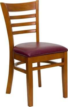 HERCULES Series Cherry Finished Ladder Back Wooden Restaurant Chair with Burgundy Vinyl Seat XU-DGW0005LAD-CHY-BURV-GG by Flash Furniture