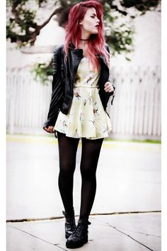 pastel, floral, dress, black, leather, leather jacket, boots, girly, grunge