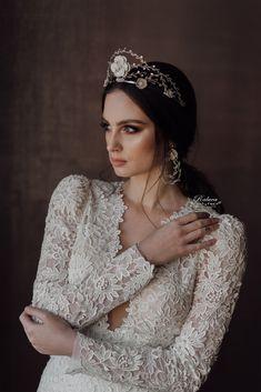 Bridal hairpiece tiara crown #bridetobe #bridalhair #weddings #hairpiece #swarovski Lace Wedding, Wedding Dresses, Tiaras And Crowns, Bridal Accessories, Hair Pieces, Swarovski, Bridal Hairpiece, Floral, Earrings