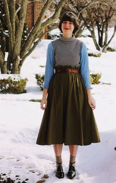 midi skirt, crop top, crop turtleneck, chambray, cut-out shoes
