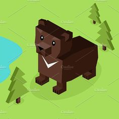 Wild Animal Bear Isometric 3d Design Graphics Wild animal bear isometric 3d design. Wild and animal, wild animals isolated, bear isometric, zoo be by robuart