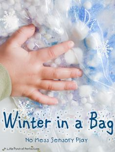 A Little Pinch of Perfect: No Mess Sensory Play: Winter in a Bag for toddlers and preschoolers.