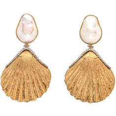 Pearl and Gold Plated Shell Earrings ($6,750) ❤ liked on Polyvore featuring jewelry, earrings, sea shell jewelry, gold plated jewellery, pearl jewelry, white pearl earrings and gold plated earrings