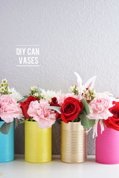 DIY Painted Can Flower Vases