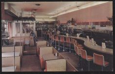 Postcard ROCHESTER New York/NY  Tom Thumb Restaurant Interior w/Jukebox 1950's? in Collectibles, Postcards, US States, Cities & Towns, New York | eBay