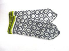 Hand knitted wool Latvian mittens, gray white mitts, adult winter colorful gloves, knit nordic arm warmers, hand warmers, accessories