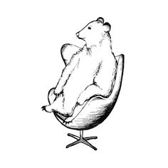 Egg Chair Bear Limited Edition Art Print by Flume Design | Minted