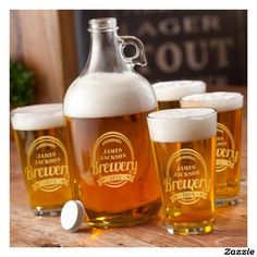 Personalized Brewery Growler Set in Gold by {A Gift Personalized} Perfect gift for a beer lover!