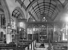 Watchet,St Decuman's Church Interior 1927, from Francis Frith