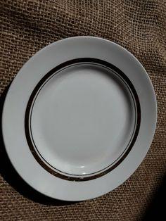 Vintage Soviet Latvia RIGA Porcelain RPR White Saucer Plate gold trim #RigaPorcelainfactory
