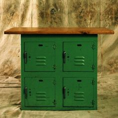 this would be so fun for a garage/basement workspace. (old school lockers)