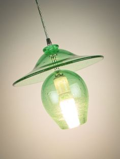 Recycled Glass Pendant Lighting Industrial Bell by wolfartglass, $545.00