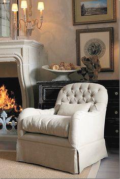 Quinn chair by Aidan Gray via Cote de Texas Small Swivel Chair, Cozy Chair, Tufted Chair, Armchair, Grey Houses, Take A Seat, Living Room Decor, Living Rooms, Living Spaces